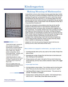 kindergarten making meaning of math cover