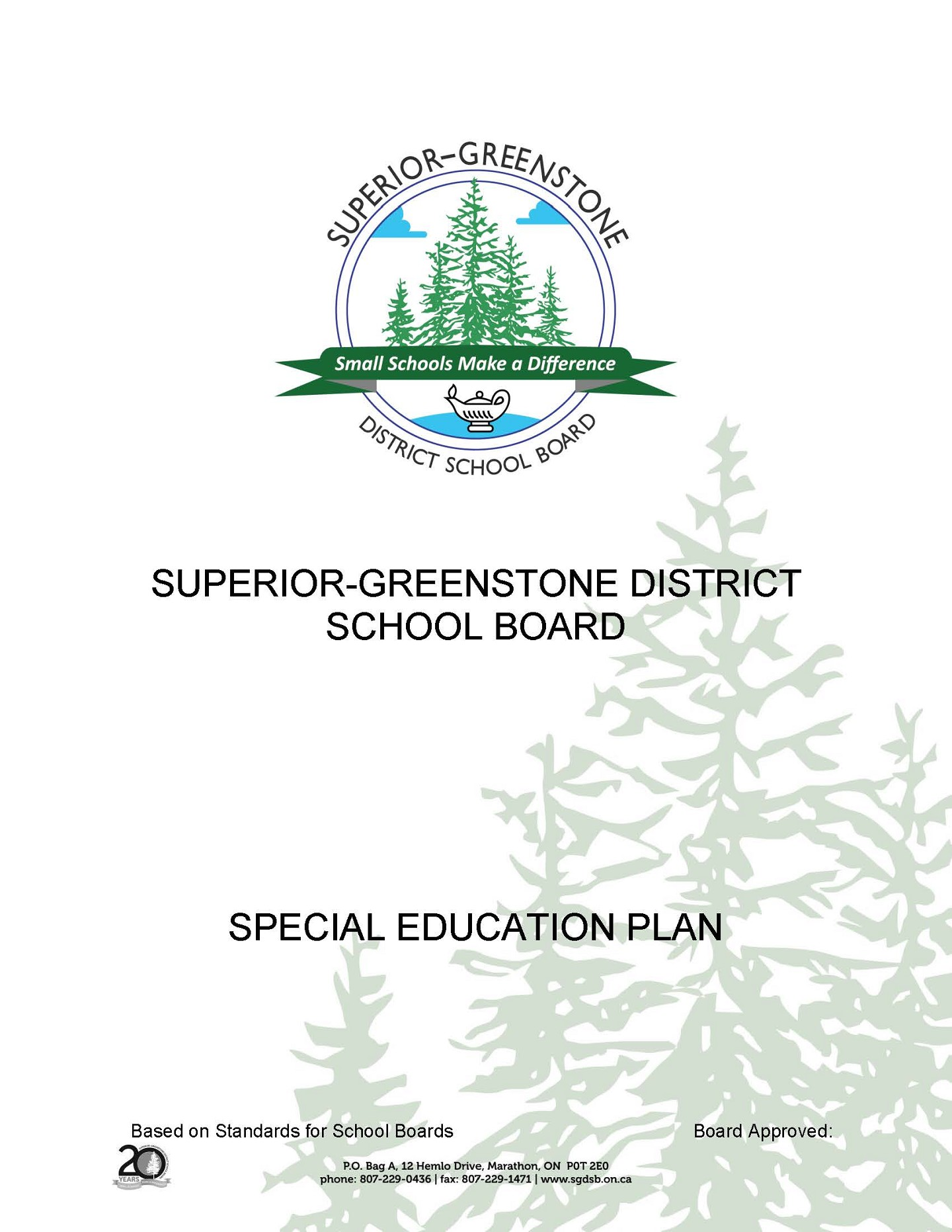Special Education Plan Cover